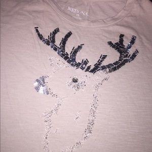 XS beaded reindeer tan shirt